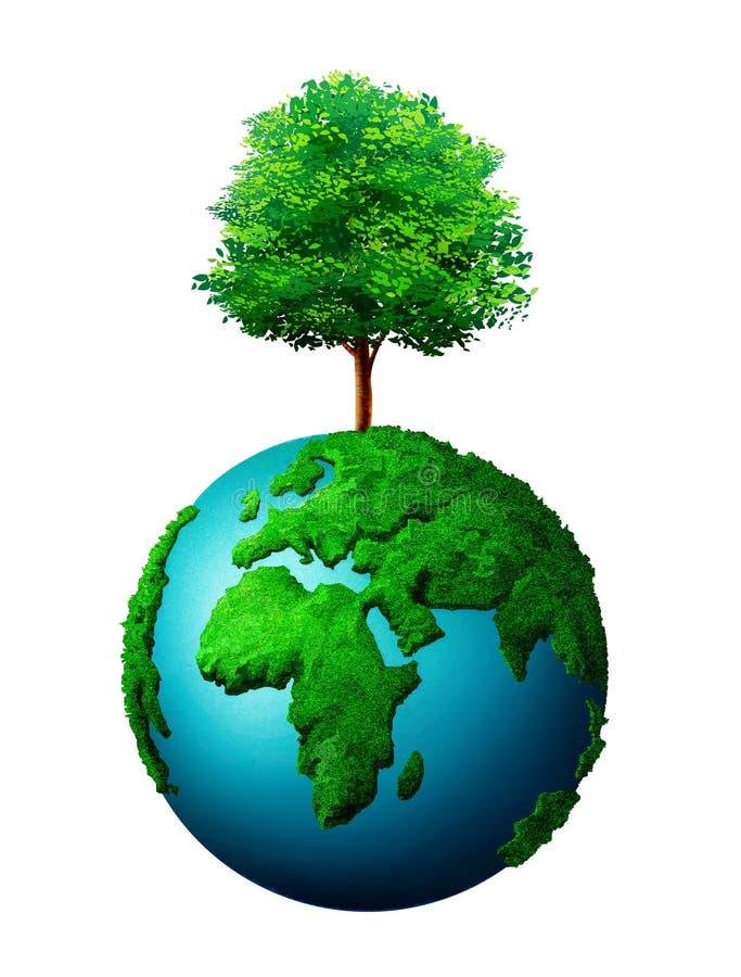 Od światowej kuli ziemskiej drzewny dorośnięcie ilustracja wektor
