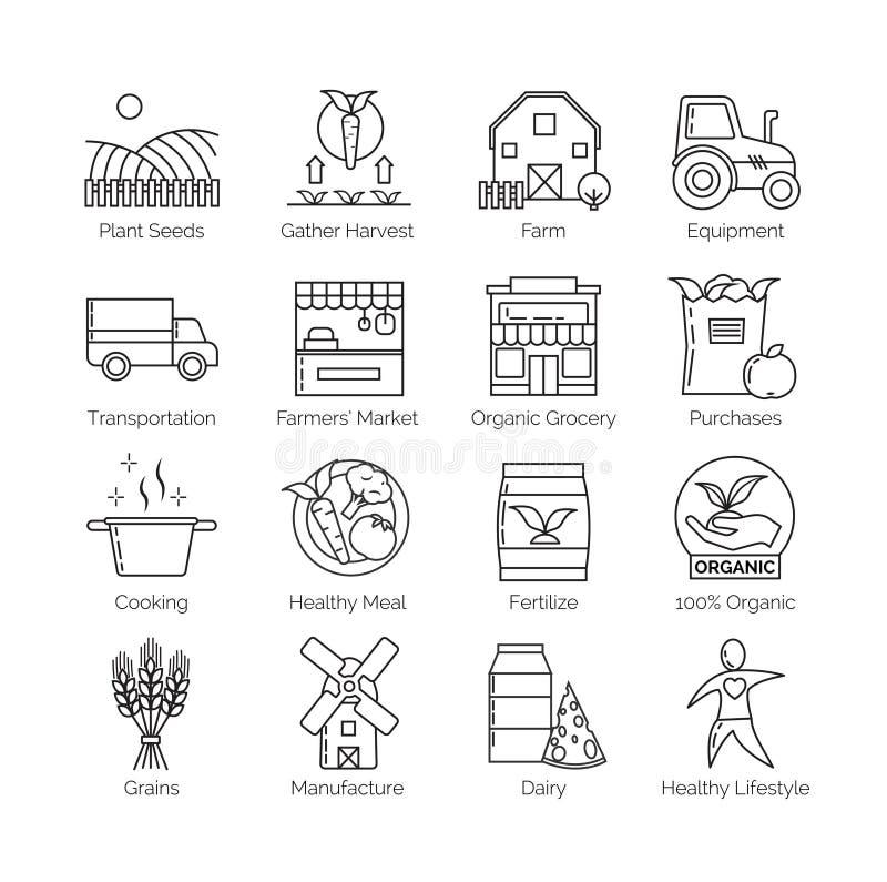 Od gospodarstwa rolnego rozwidlenie set mieszkanie ikony cienkie kreskowe wektorowe ilustracje ilustracja wektor