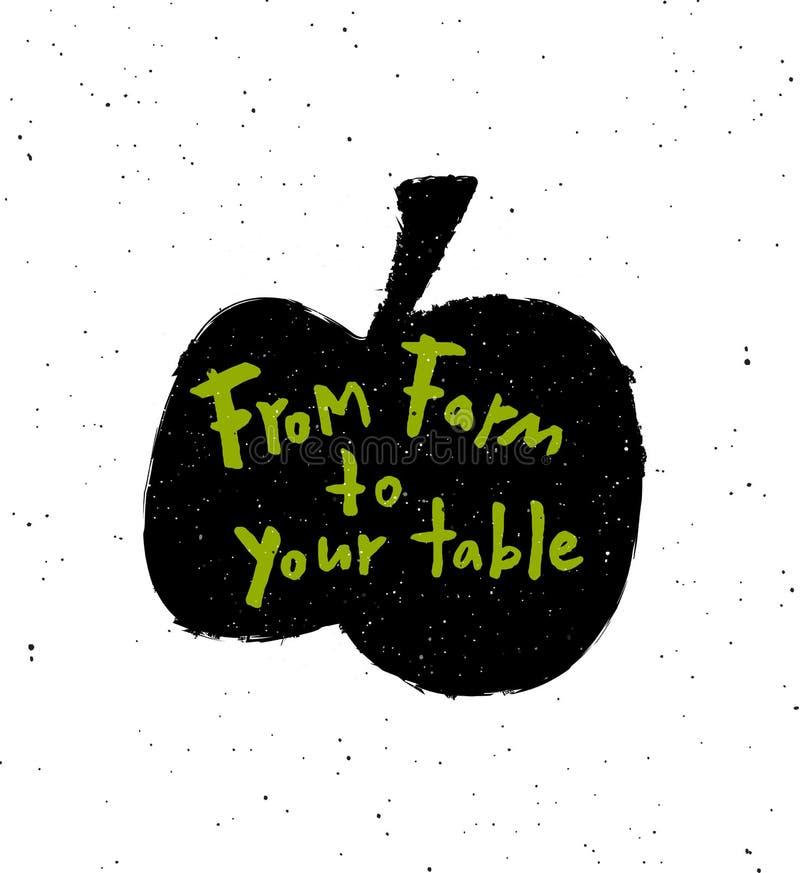 Od gospodarstwa rolnego twój stół Wręcza patroszonego literowanie plakat z jabłczaną czarną sylwetką royalty ilustracja