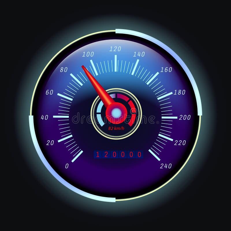 Odômetro de Digitas e velocímetro do analógico com seta ilustração stock