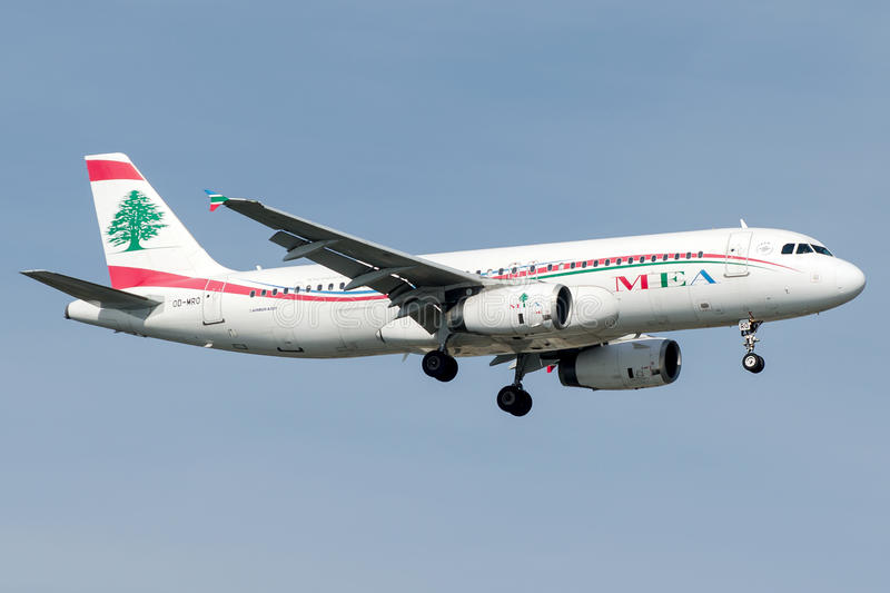 Od-MRO Middle East Airlines, Luchtbus A320 - 200 stock afbeeldingen