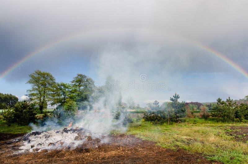 Od ogienia dym wzrasta chmury zdjęcie stock