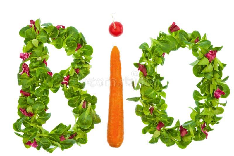 Od organicznie słów warzywa sałatka i fotografia stock