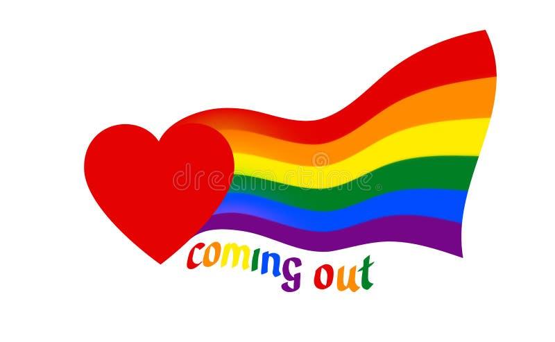 Od serce komesów tęczy flaga - symbol dumy lgbtq i lgbt Nadchodzący za LGBT ikonie Tęcza szyldowy homoseksualista, lesbian, trans ilustracja wektor