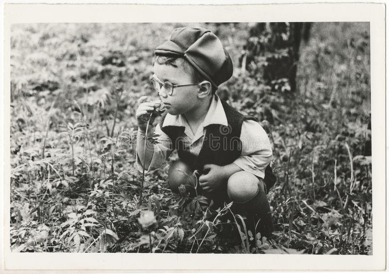 Od Soviet Black and white portrait photograph of a little boy. stock photography