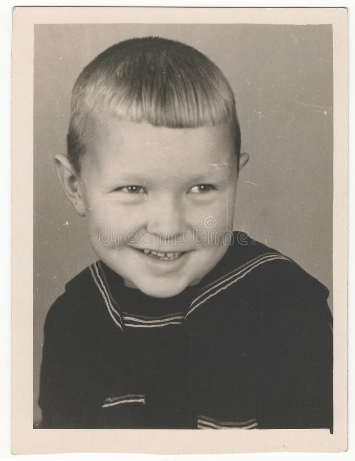 Od Soviet Black and white portrait photograph of a little boy. royalty free stock photography