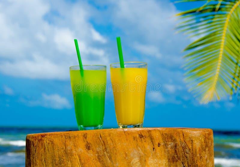 Od?wie?aj?cy koktajl przy pla?? w Belize raju wybrze?e - odtwarzanie w tropikalnym miejsce przeznaczenia dla wakacje - zdjęcia stock