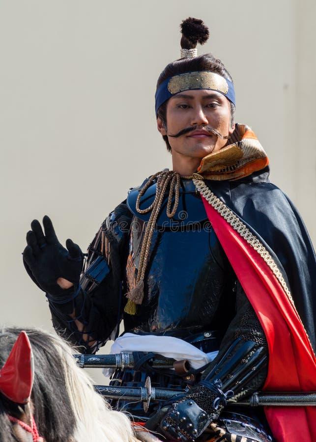 Oda Nobunaga sur un cheval image libre de droits