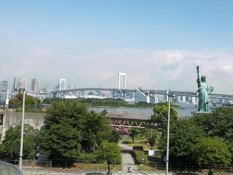 Odaiba bay area. Travel view of Odaiba featuring bay area. The image location is Tokyo in Japan, Asia royalty free stock photo