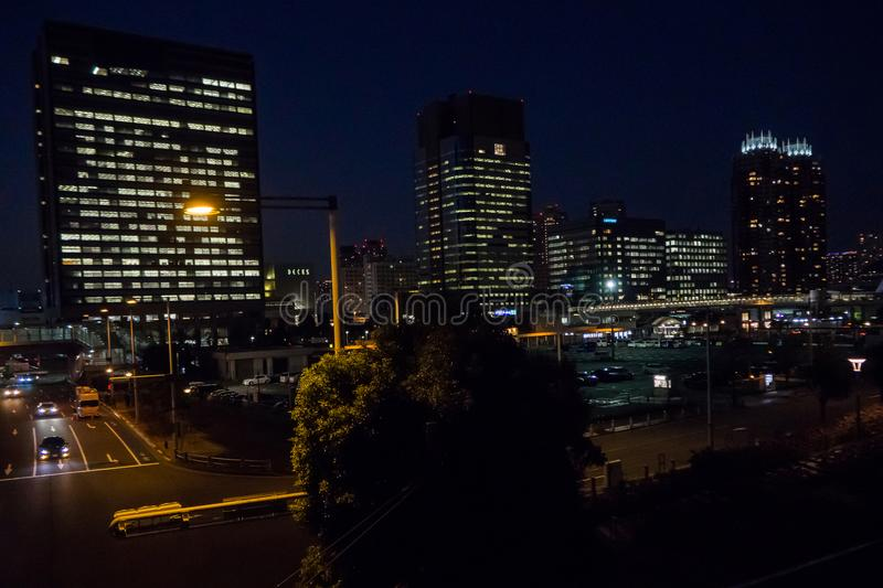 The odaiba builing night royalty free stock photos
