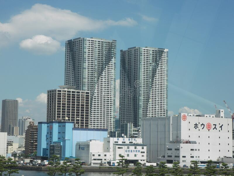Odaiba business bay area. Travel view of Odaiba featuring business bay area. The image location is Tokyo in Japan, Asia stock images