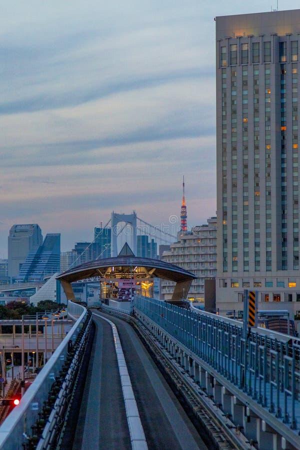 Odaiba ,Tokyo, Japan - Nov 17 2018 - View of odiba railway stock photography