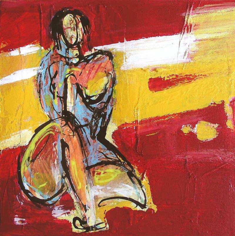 odalisquemålningskvinna vektor illustrationer