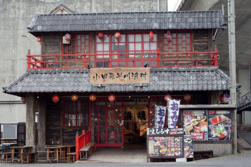 ODAWARA, GIAPPONE - 5 OTTOBRE 2018: L'esterno del ristorante esotico giapponese dei frutti di mare fotografia stock