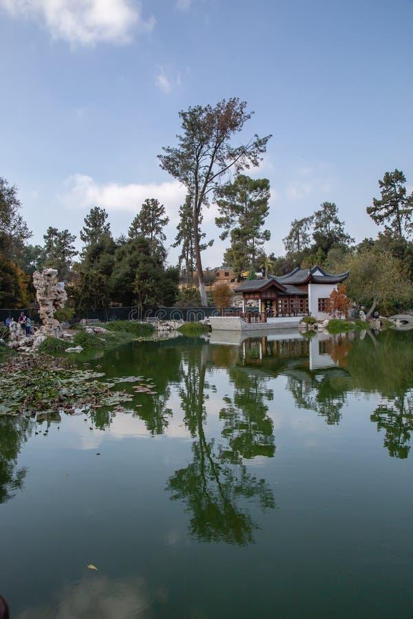 Odbicia dom i drzewa na stawie przy japończykiem uprawiają ogródek zdjęcie stock