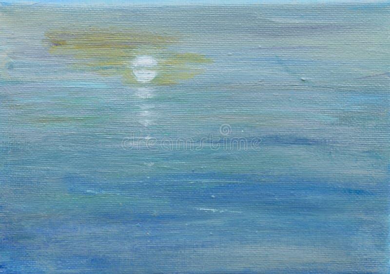 Odbicia, księżyc i morze, fotografia stock