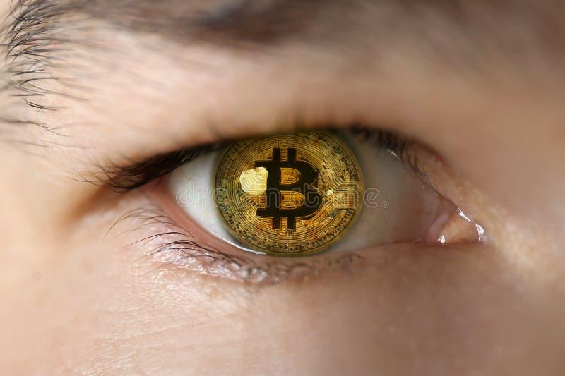 Odbicie bitcoin w ludzkim oku, zbliżenie fotografia royalty free