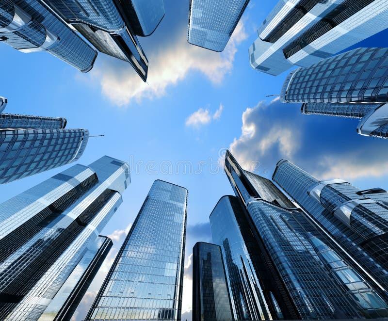 Odbicie drapacze chmur w Windows domy odpłaca się ilustrację tło jest 3D fotografia royalty free