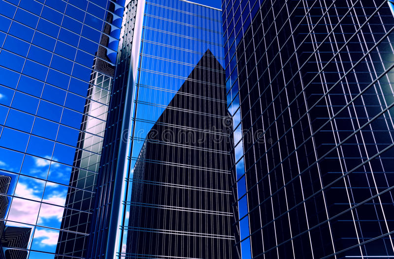 Odbicie drapacze chmur w Windows domy odpłaca się ilustrację tło jest 3D zdjęcia stock