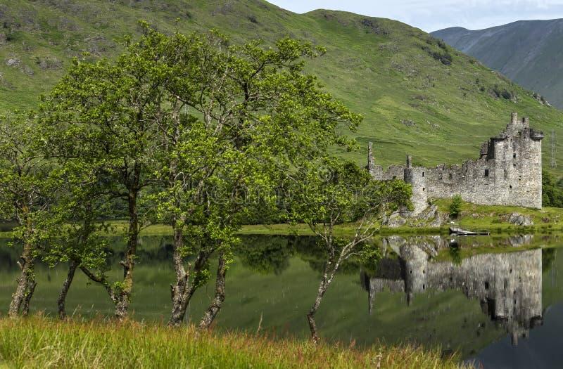 Odbicie Kilchurn kasztel w Loch respekcie, średniogórza, Szkocja zdjęcie stock