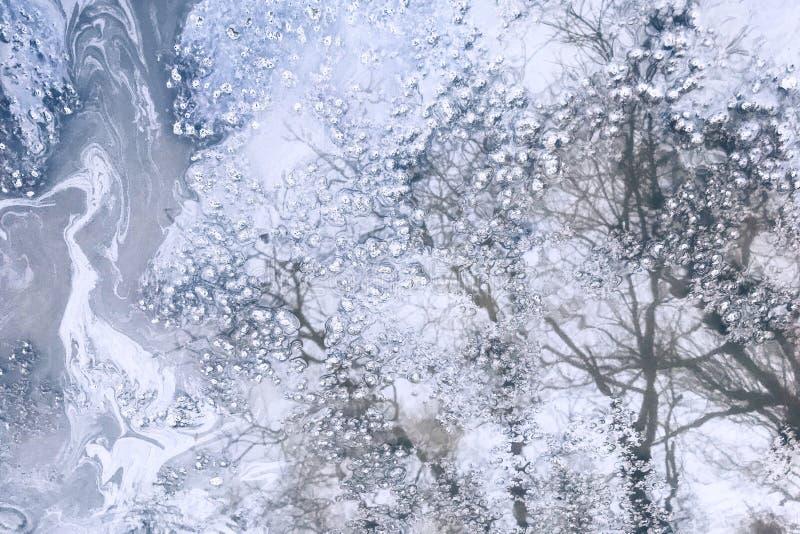Odbicie natura w lodowym basenie, tło, tekstura, kopii przestrzeń zdjęcia stock