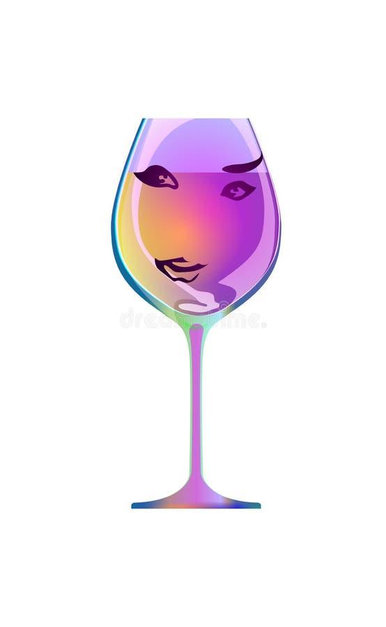 Odbicie piękna dziewczyna w sylwetki szkle, nakreślenie czara Postać z kreskówki i napój Odizolowywający biały tło Vect ilustracja wektor
