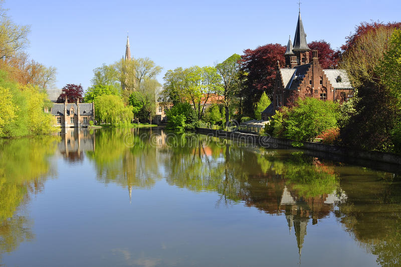 Odbicie w rzece, Bruges zdjęcia royalty free