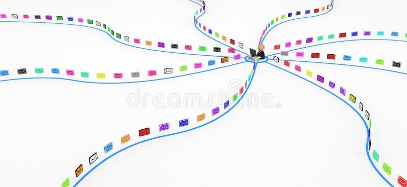 odbierający kolorów emaile royalty ilustracja