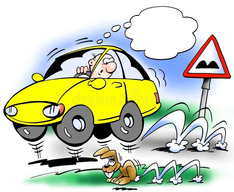 Odbijać się samochód na drodze ilustracja wektor