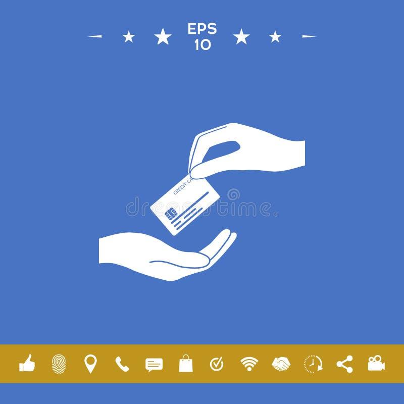 Odbiorcza kredytowa karta ręki karciany kredytowy mienie ilustracji