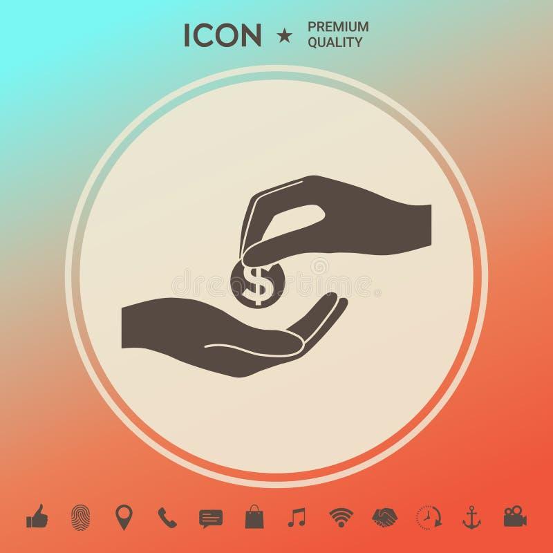 Odbiorcza pieniądze ikona ilustracji