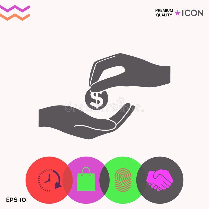 Odbiorcza pieniądze ikona royalty ilustracja