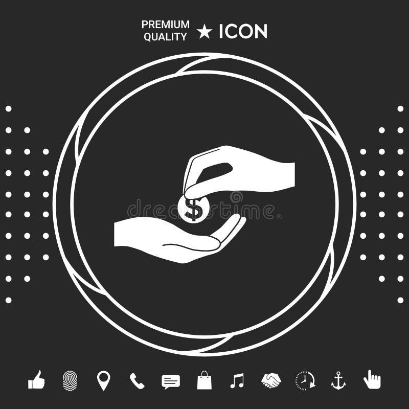Odbiorcza pieniądze ikona Graficzni elementy dla twój designt royalty ilustracja
