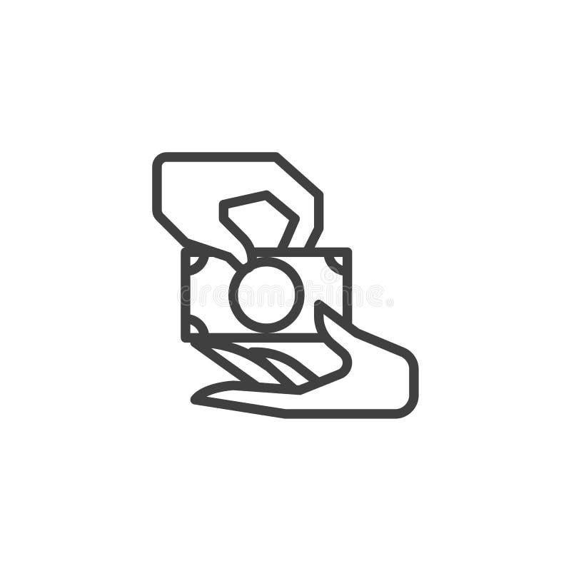 Odbiorcza pieniądze linii ikona ilustracji