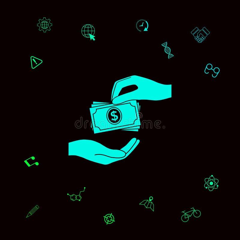 Odbiorcza pieniędzy banknotów sterty ikona Gotówka broguje pieniędzy banknoty Graficzni elementy dla twój designt ilustracja wektor