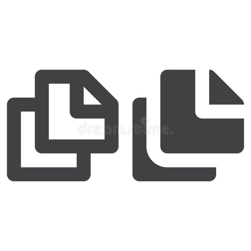 Odbitkowa gęsta linia, bryły ikona, kontur i piktogram odizolowywający na bielu, wypełniający wektoru znaka, liniowego i pełnego, ilustracji