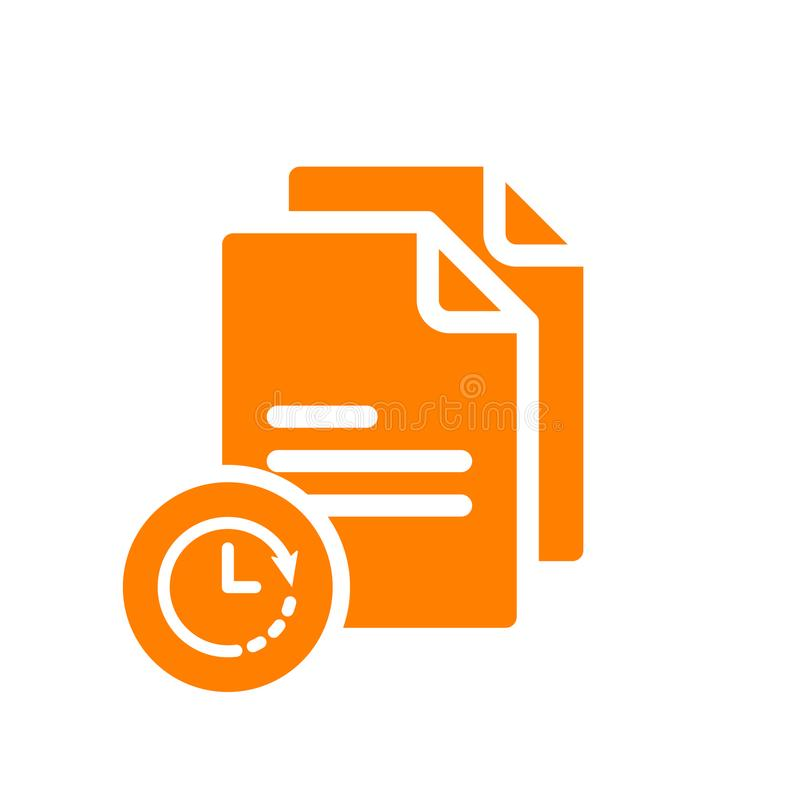Odbitkowa ikona, znak ikona z zegaru znakiem Odbitkowa ikona i odliczanie, ostateczny termin, rozkład, planistyczny symbol royalty ilustracja