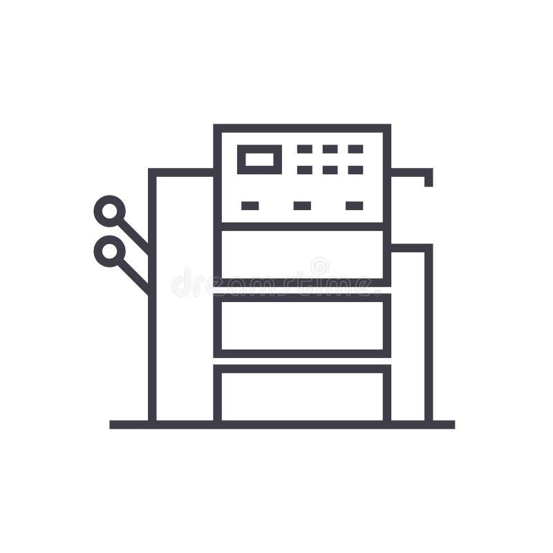 Odbitkowa maszynowa wektor linii ikona, znak, ilustracja na tle, editable uderzenia royalty ilustracja