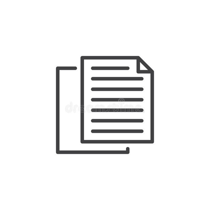 Odbitkowych dokumentów kreskowa ikona royalty ilustracja
