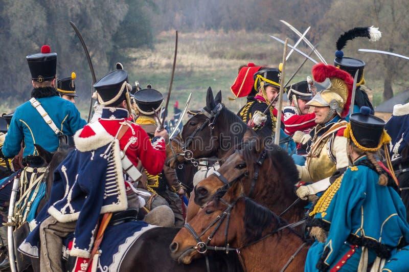 Odbudowa bitwy Patriotyczna wojna 1812 Rosyjskich miast Maloyaroslavets zdjęcia royalty free