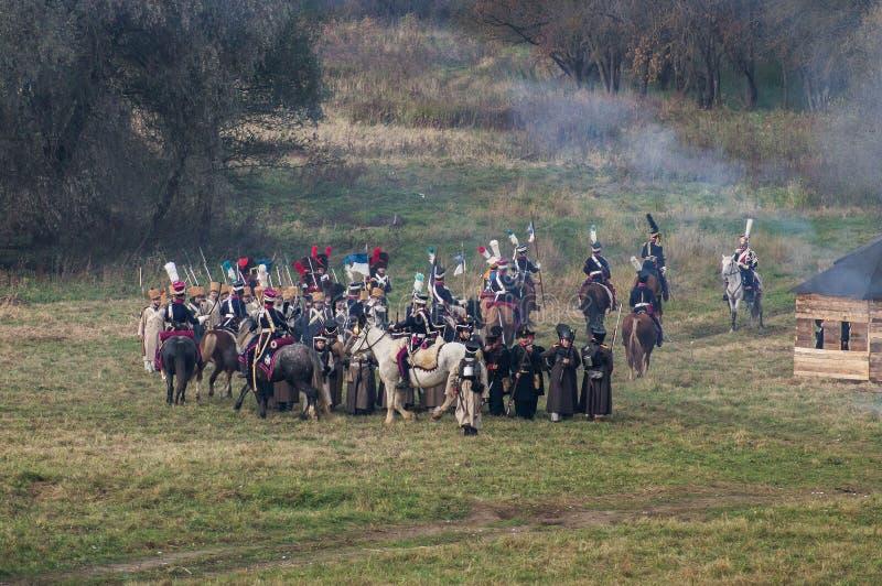 Odbudowa bitwy Patriotyczna wojna 1812 Rosyjskich miast Maloyaroslavets fotografia royalty free