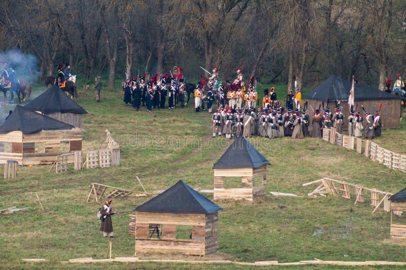 Odbudowa bitwy Patriotyczna wojna 1812 Rosyjskich miast Maloyaroslavets zdjęcia stock
