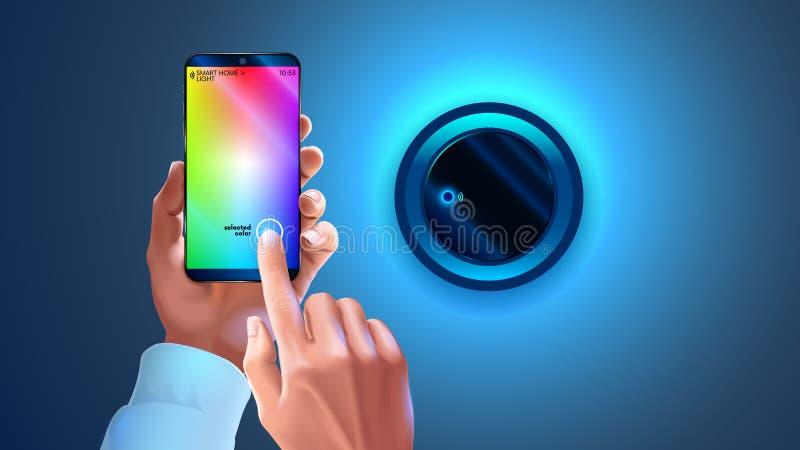 Odcienia app na telefonie używać kontrolować mądrze lampę w mądrze domowym systemu Ręki trzyma smartphone, zmienia koloru światła ilustracja wektor