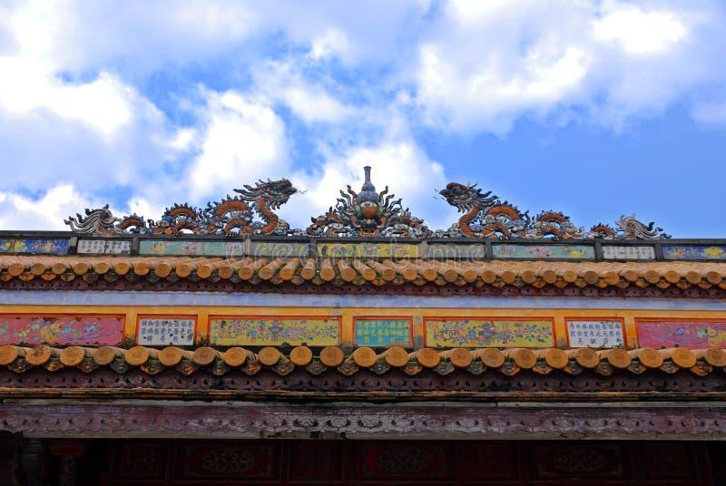 odcienia pałac dach królewski Vietnam zdjęcia stock