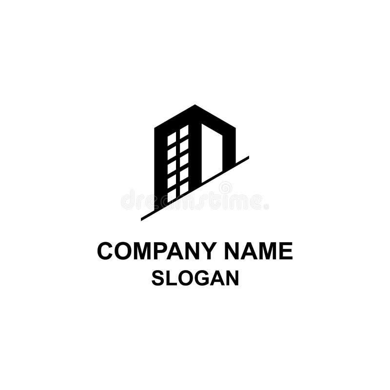 Odcina wysokiego budynku biurowego logo ilustracja wektor
