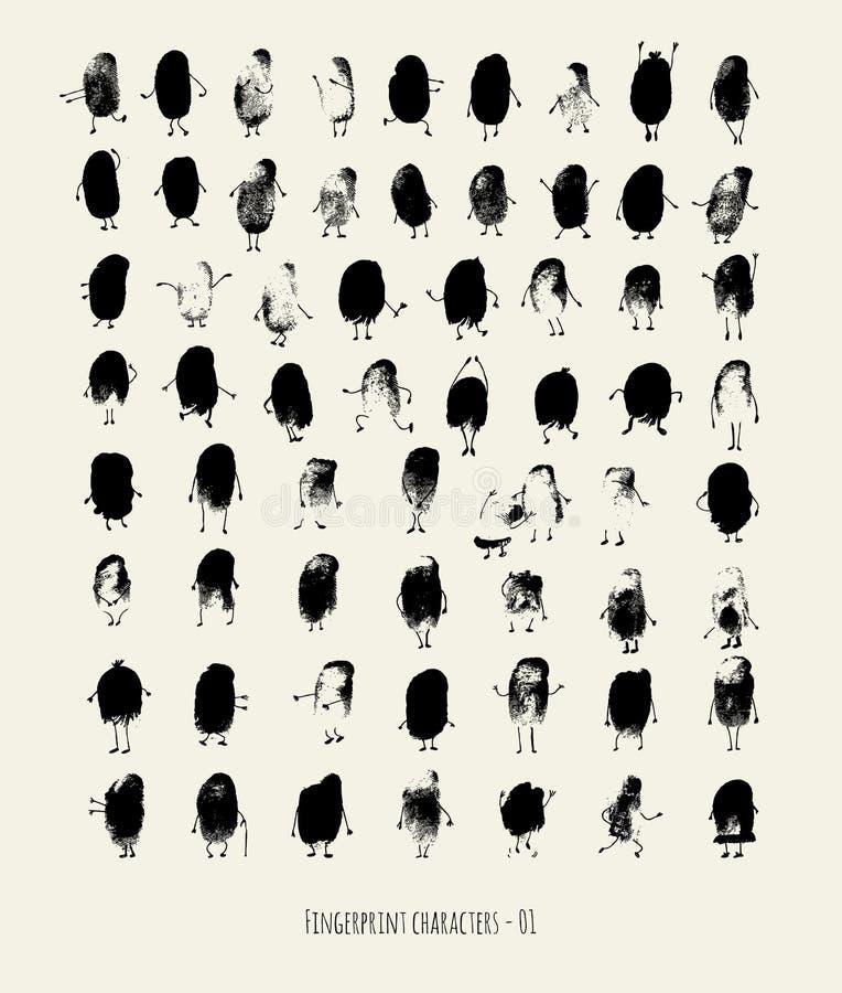 Odcisków palca charaktery - 01 royalty ilustracja