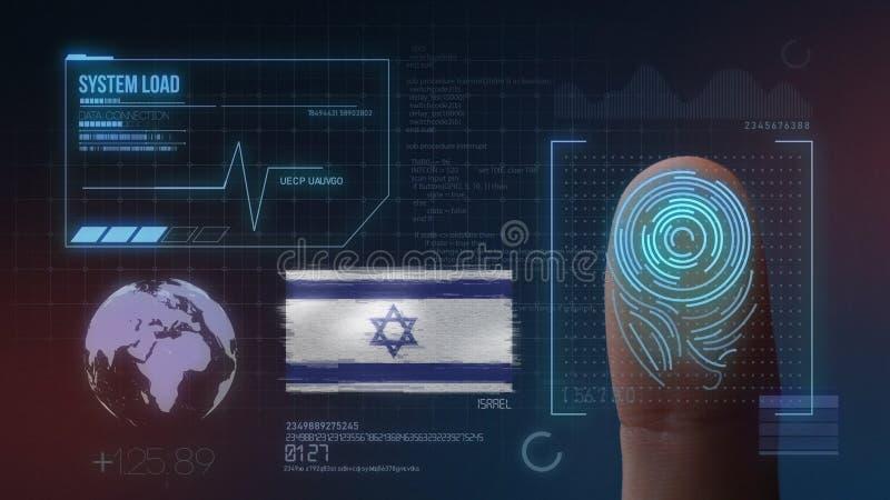 Odcisk Palca Biometrycznego skanerowania Tożsamościowy system Izrael narodowość ilustracja wektor