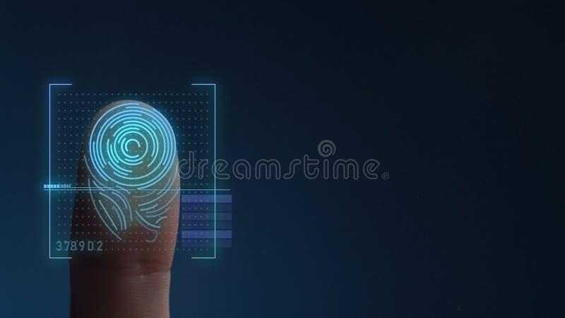 Odcisk Palca Biometrycznego skanerowania Tożsamościowy system kosmos kopii royalty ilustracja