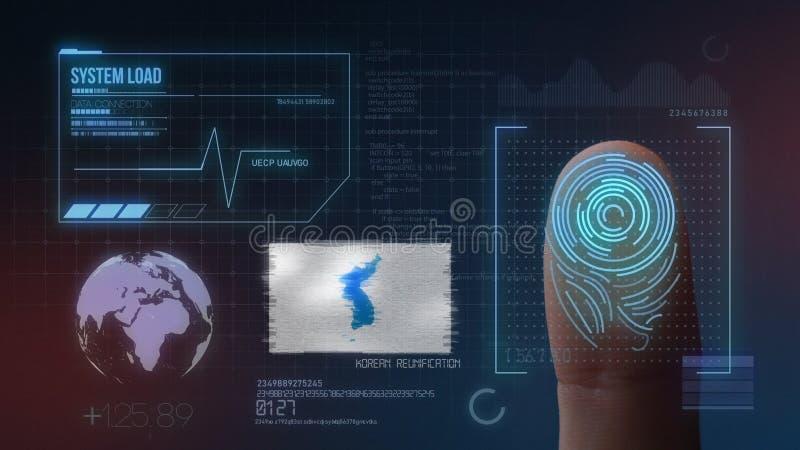 Odcisk Palca Biometrycznego skanerowania Tożsamościowy system Ujednolicenie flaga Korea narodowość obraz royalty free