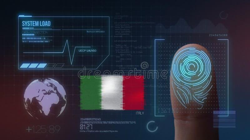 Odcisk Palca Biometrycznego skanerowania Tożsamościowy system Włochy narodowość ilustracja wektor